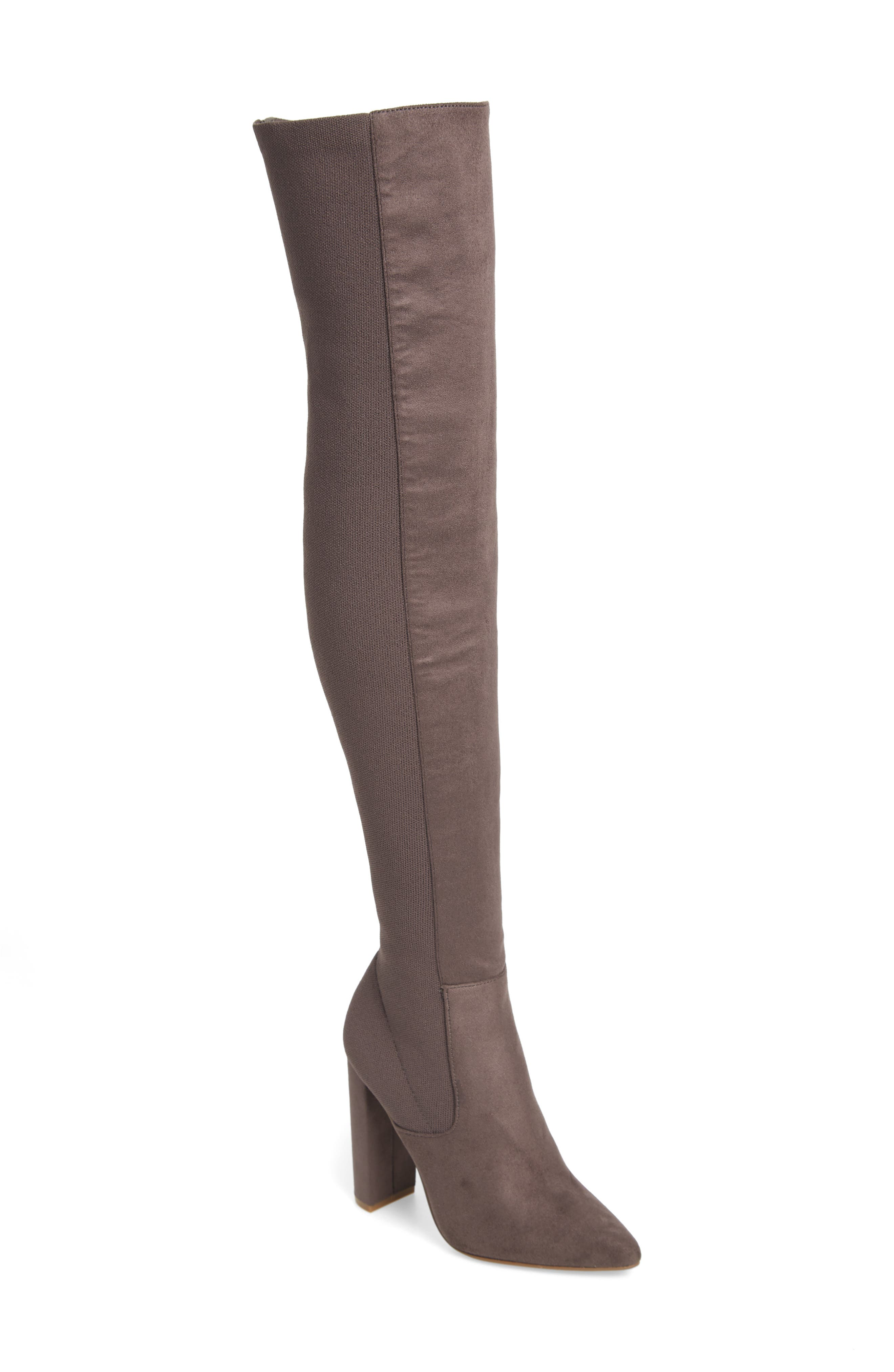Essence Over the Knee Stretch Boot, Main, color, GREY
