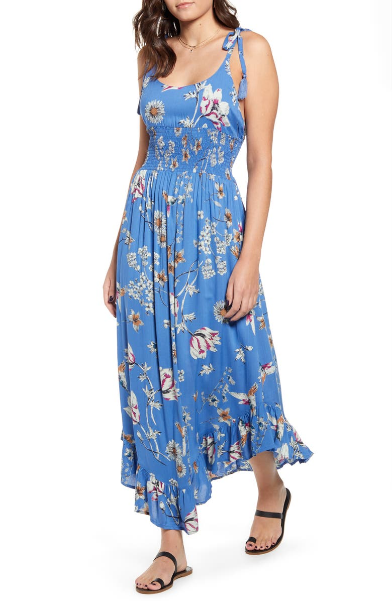 ANGIE Floral Tie Strap Maxi Dress, Main, color, PERIWINKLE