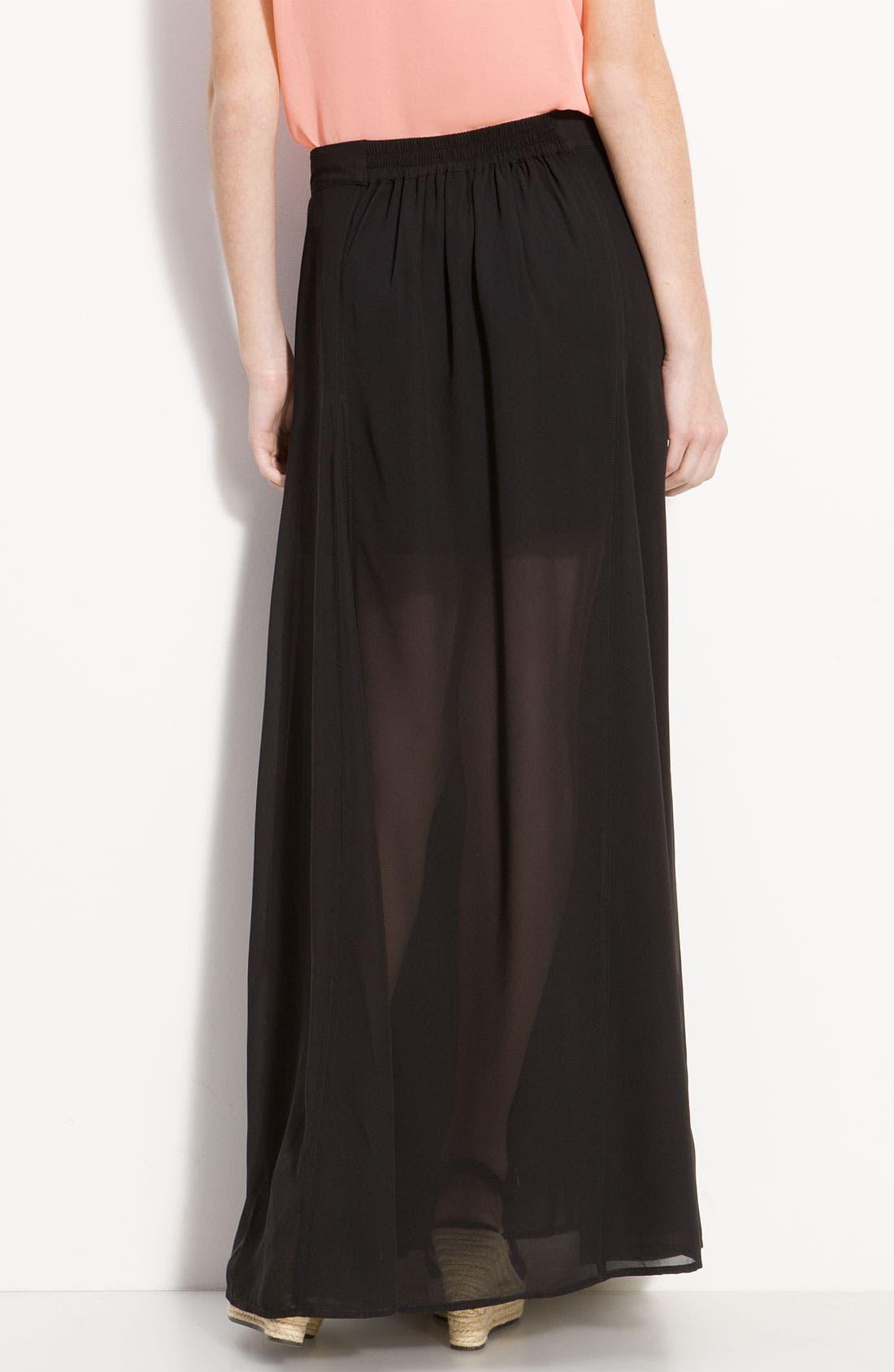 ,                             <sup>®</sup> Half Sheer Chiffon Maxi Skirt,                             Alternate thumbnail 3, color,                             001