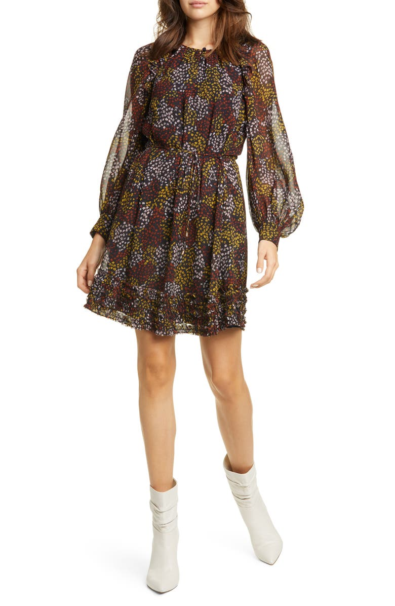 JOIE Donetta Floral Long Sleeve Silk Dress, Main, color, MIDNIGHT