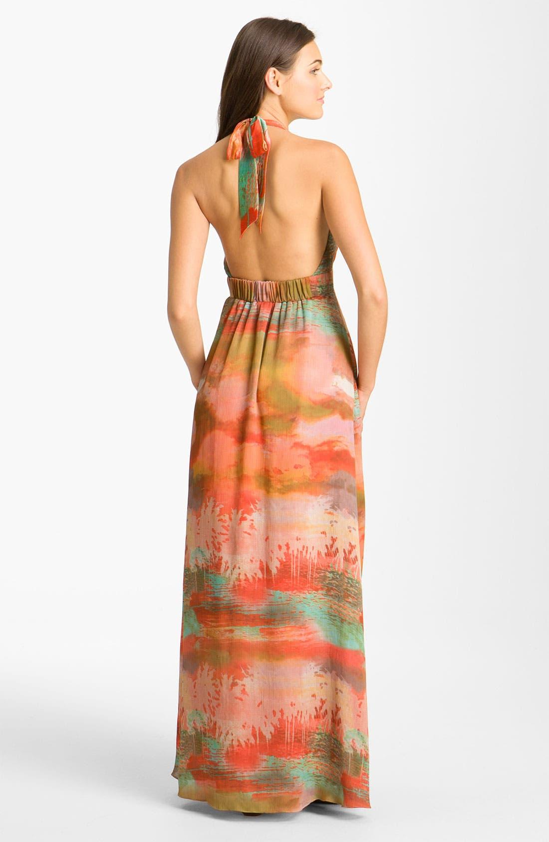 ,                             Print Halter Crêpe de Chine Maxi Dress,                             Alternate thumbnail 2, color,                             801