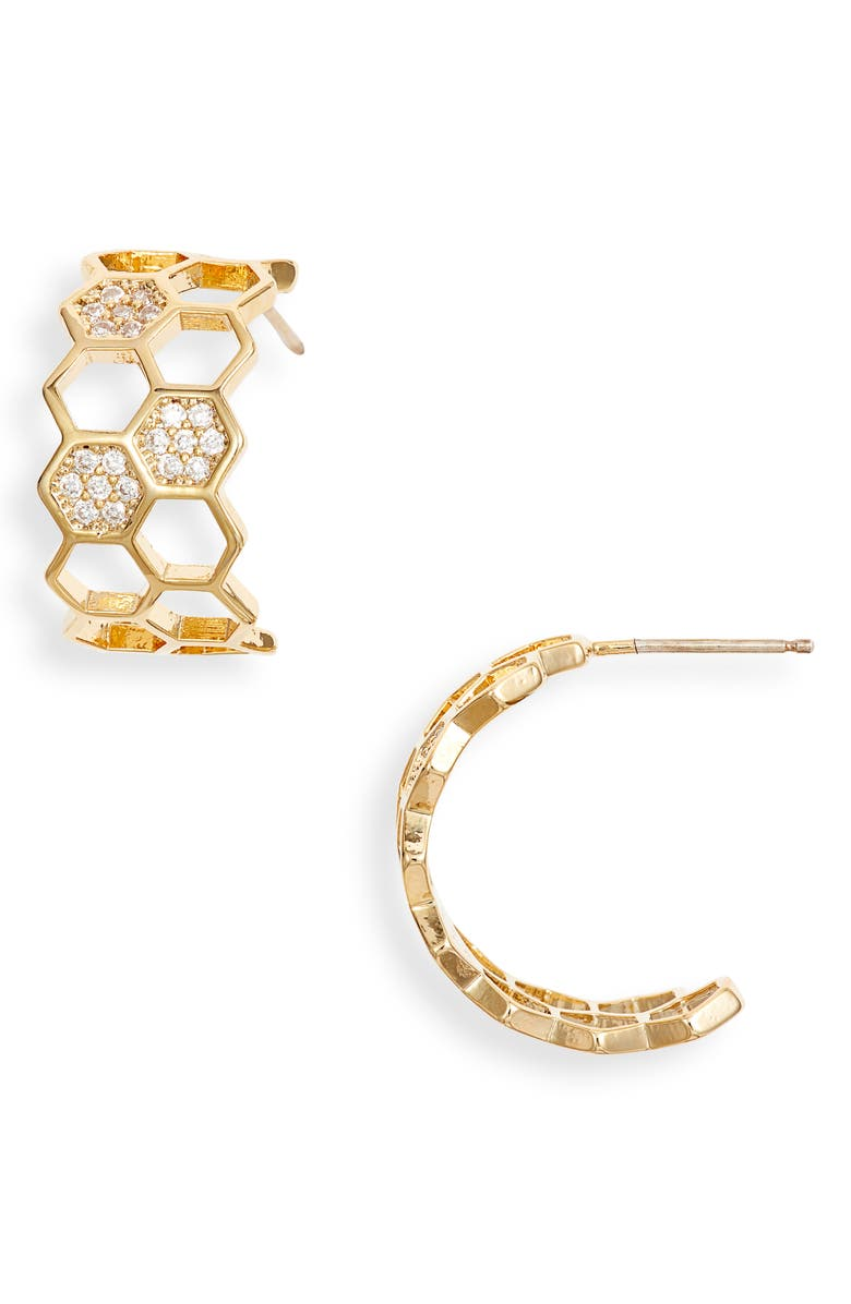BRACHA Honeycomb Hoop Earrings, Main, color, GOLD