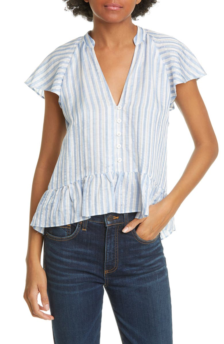 VERONICA BEARD Maple Flutter Sleeve Stripe Top, Main, color, 463