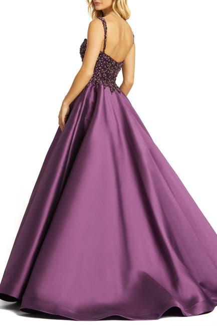 Image of Mac Duggal Beaded Satin Ball Dress
