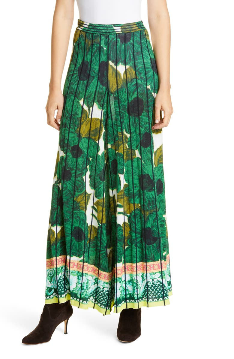 ETRO Brushstroke Floral Print Knit Culotte Pants, Main, color, GREEN