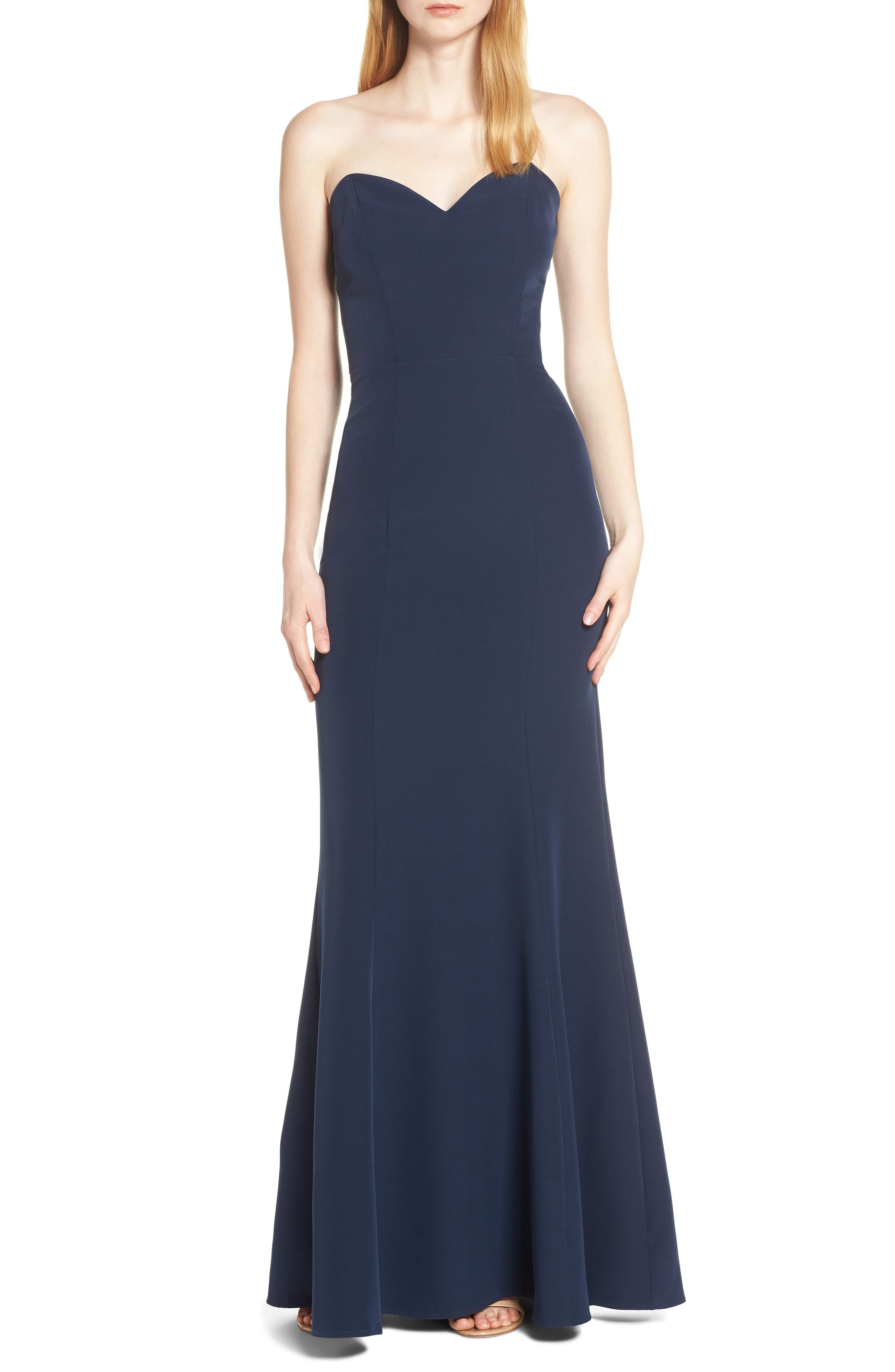Wayf The Mia Lace-Up Back Evening Dress, Blue