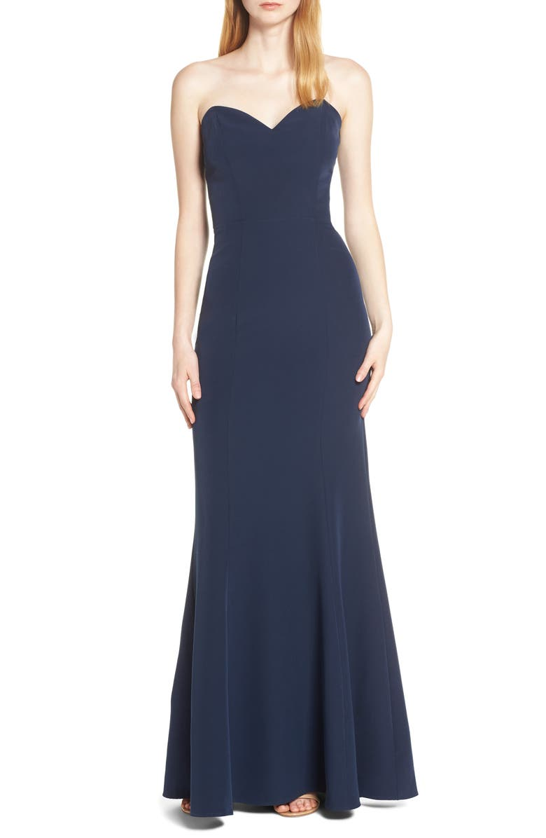 WAYF The Mia Lace-Up Back Evening Dress, Main, color, NAVY