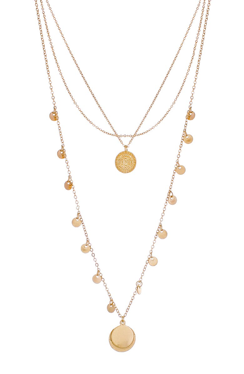 PANACEA Layered Circle Pendant Necklace, Main, color, GOLD