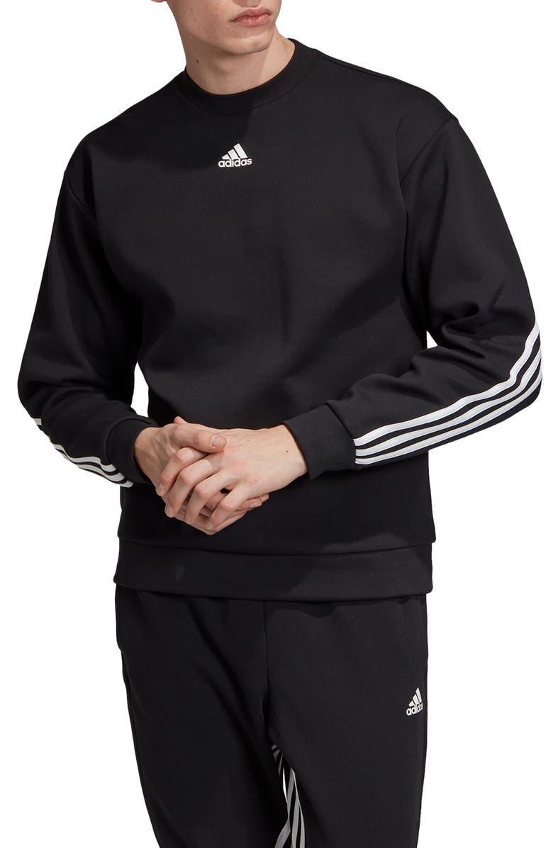 ADIDAS 3-Stripes Double Knit Crewneck Sweatshirt, Main, color, BLACK