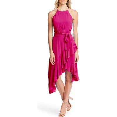 Cece Asymmetrical Cascading Ruffle Hem Dress, Pink