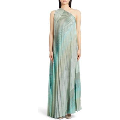 Missoni One-Shoulder Plisse Metallic Stripe Knit Gown, US / 42 IT - Green