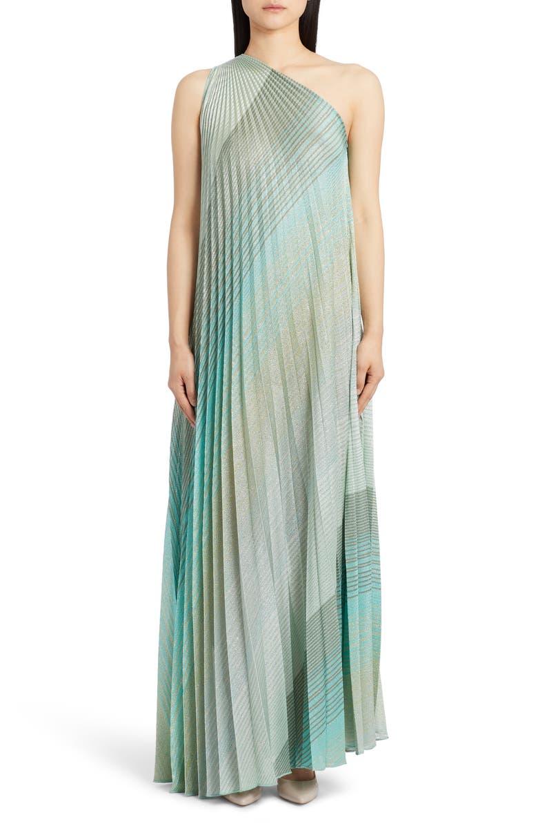 MISSONI One-Shoulder Plissé Metallic Stripe Knit Gown, Main, color, GREEN MULTI