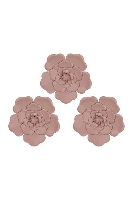 Image of Stratton Home Pink Metal Flowers Wall Decor - Set of 3