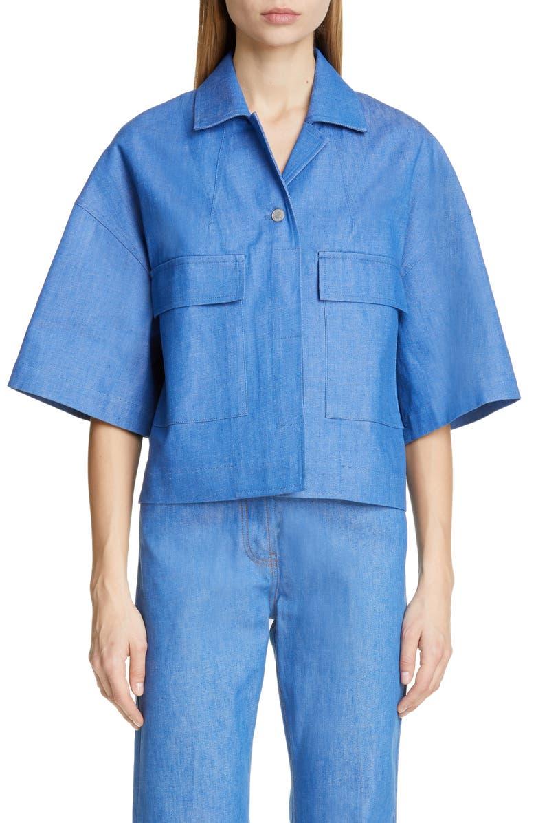DRIES VAN NOTEN Valimera Crop Sleeve Denim Jacket, Main, color, 400