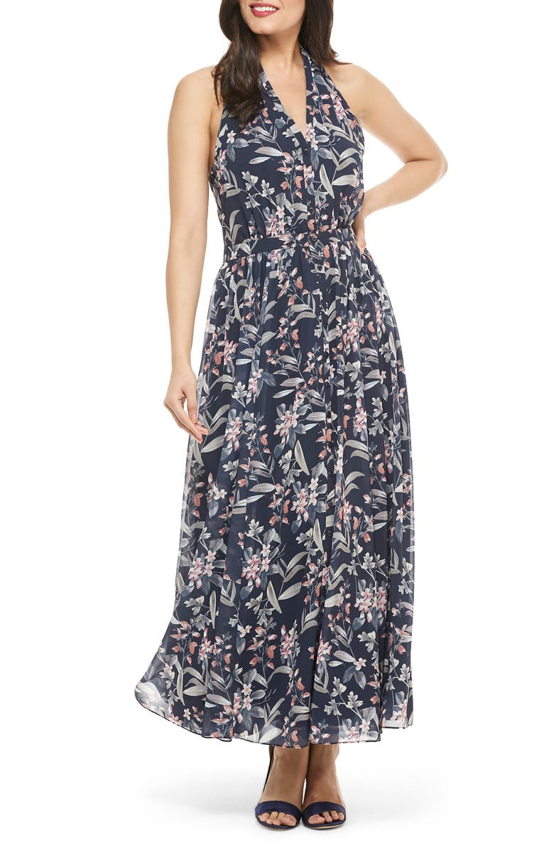 GAL MEETS GLAM COLLECTION Siena Floral Print Halter Neck Chiffon Maxi Dress, Main, color, NAVY