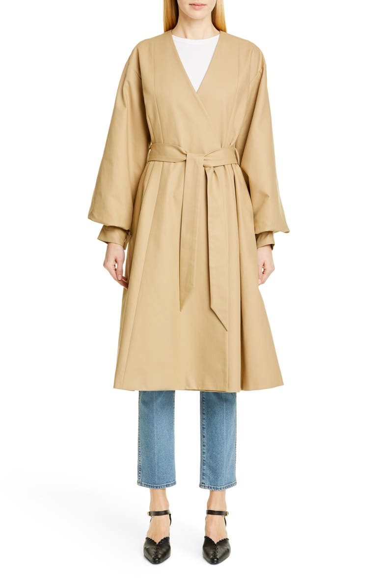 MERLETTE Sian Belted Twill Coat, Main, color, TAUPE