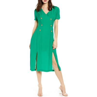 All In Favor Double Breasted Midi Dress, Green