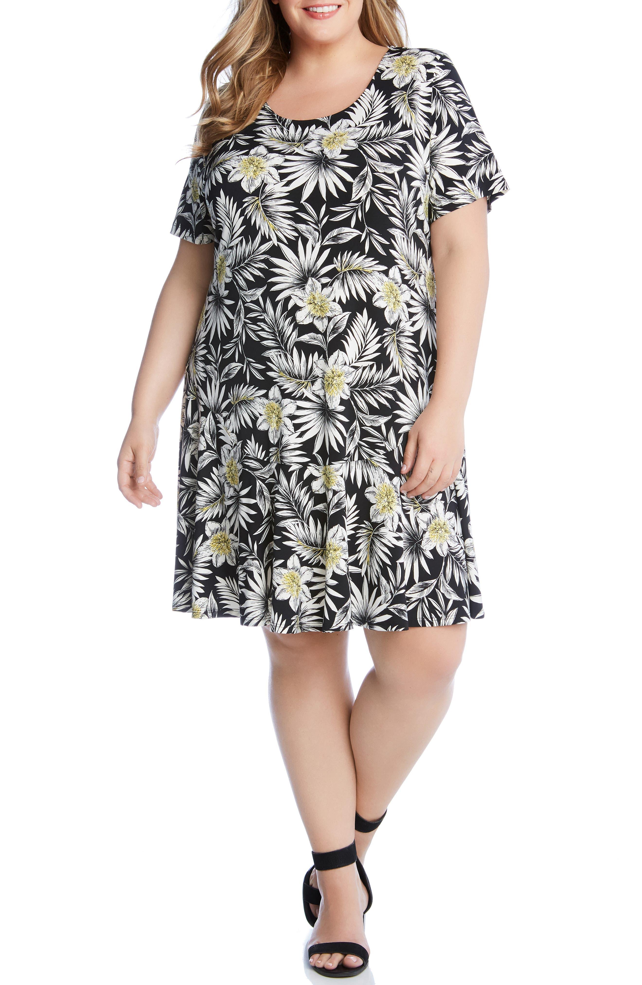 Plus Size Karen Kane Dakota Palm Blossom Dress, Black