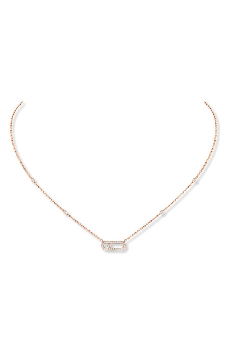 MESSIKA Move Uno Pavé Diamond Pendant Necklace, Main, color, ROSE GOLD/ DIAMOND