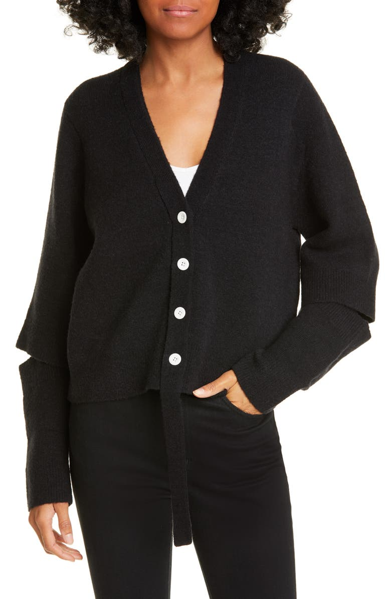 PROENZA SCHOULER WHITE LABEL Proenza Schouler PSWL Double Face Wool Blend Crop Cardigan, Main, color, BLACK