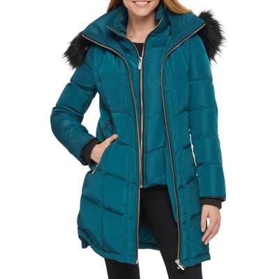 Karl Lagerfeld Paris Chevron Puffer Coat, Blue