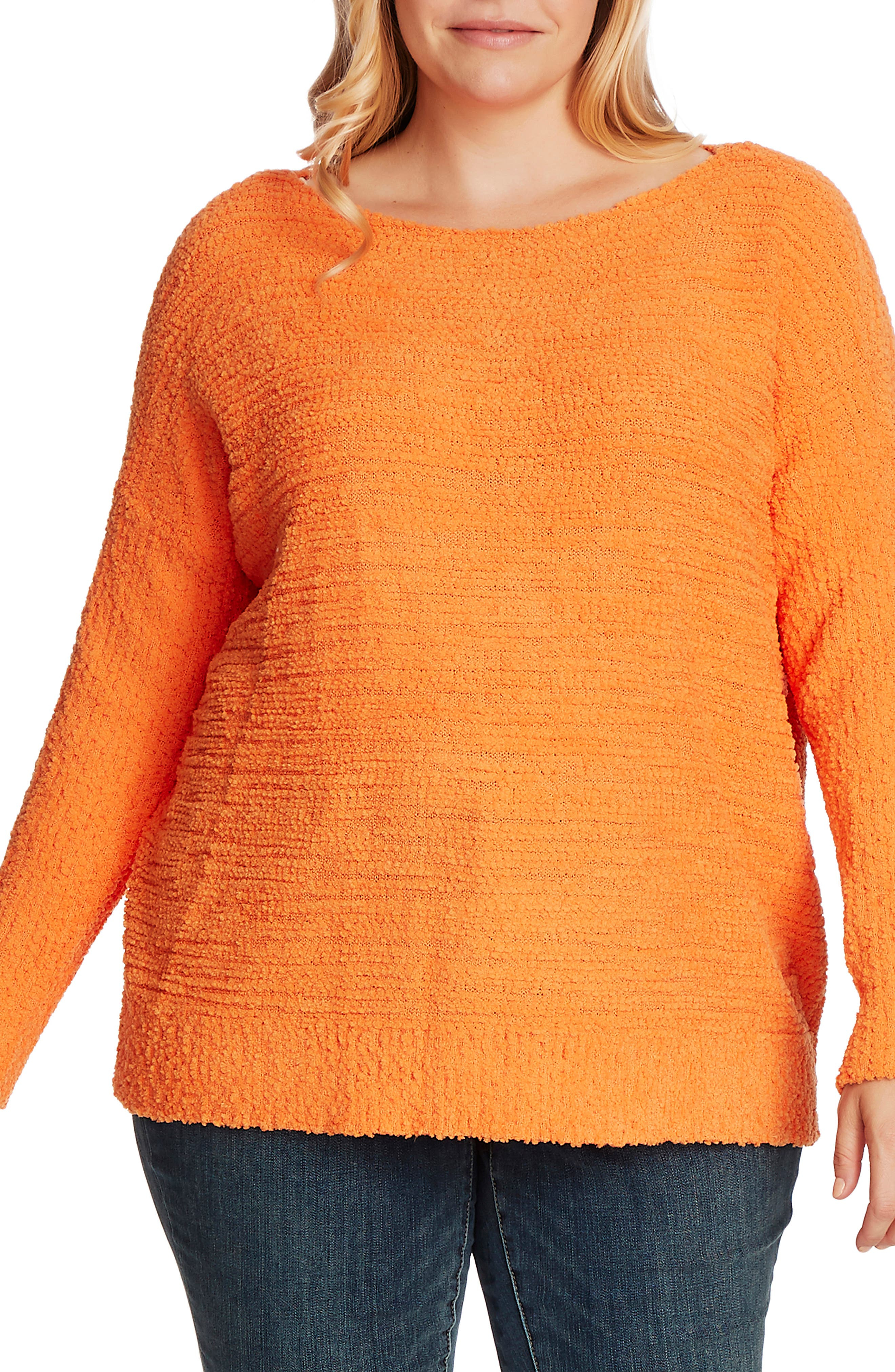 Image of Vince Camuto Teddy Yarn Boat Neck Sweater