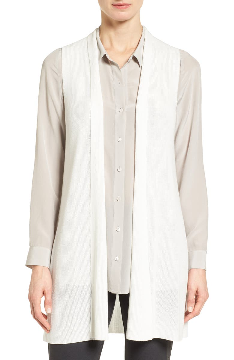 EILEEN FISHER Sleek Ribbed Tencel<sup>®</sup> Vest, Main, color, 100