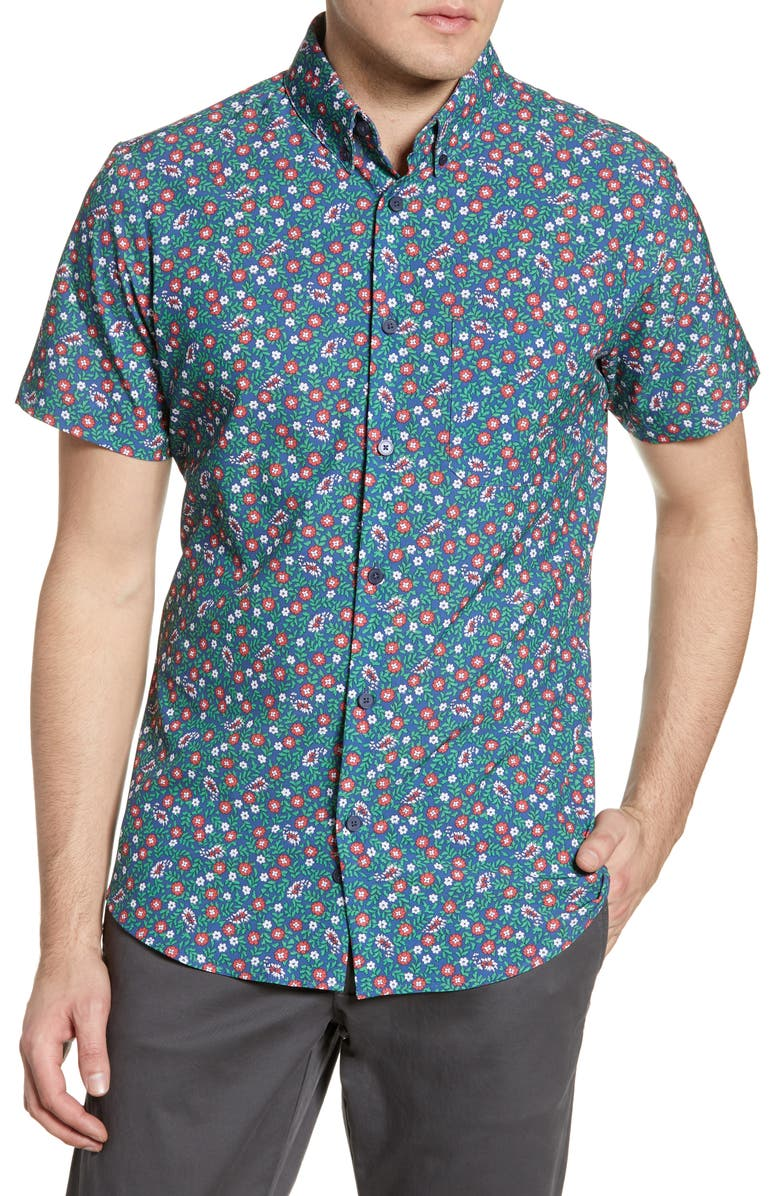 MIZZEN+MAIN McNeal Trim Fit Floral Print Performance Shirt, Main, color, BLUE