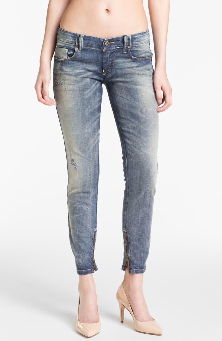 f105fae1 DIESEL® 'Grupee' Distressed Denim Skinny Jeans (Blue Distressed ...