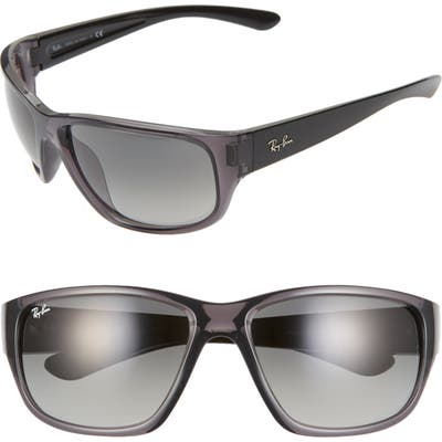 Ray-Ban 6m Oversize Square Wrap Sunglasses - Black/ Grey Gradient