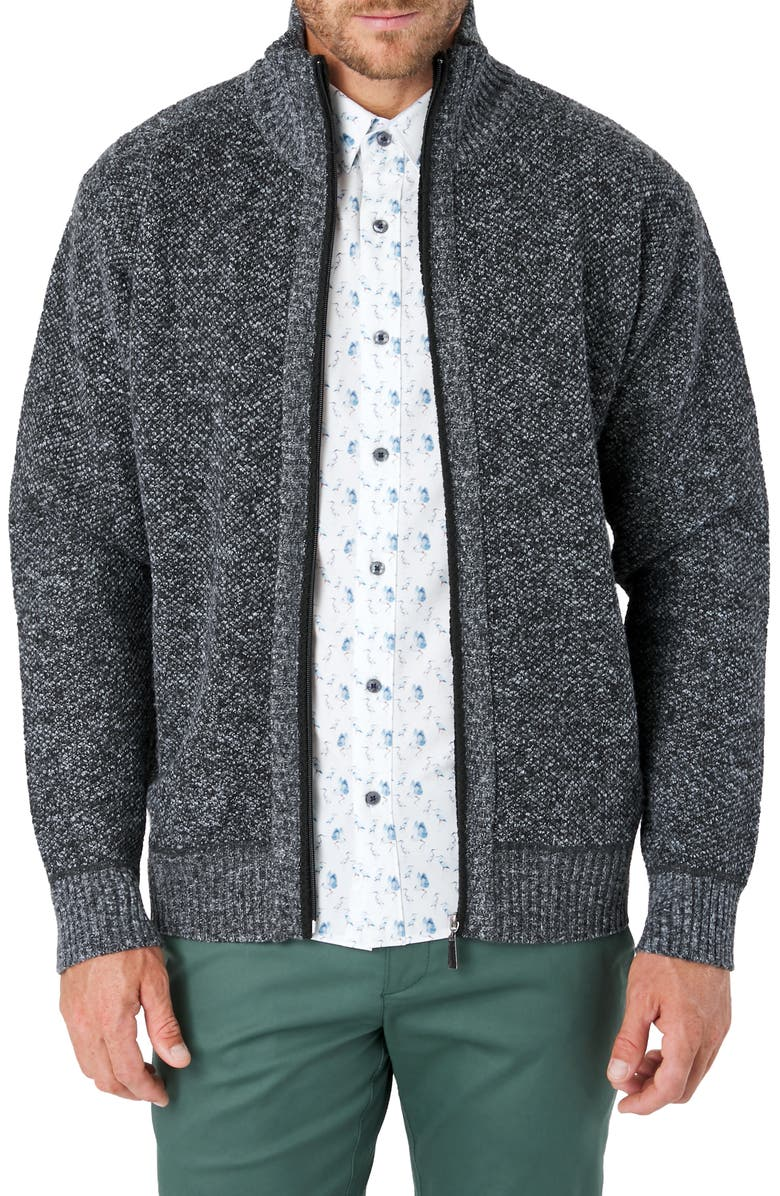 7 DIAMONDS Parague Regular Fit Zip Front Sweater, Main, color, CHARCOAL