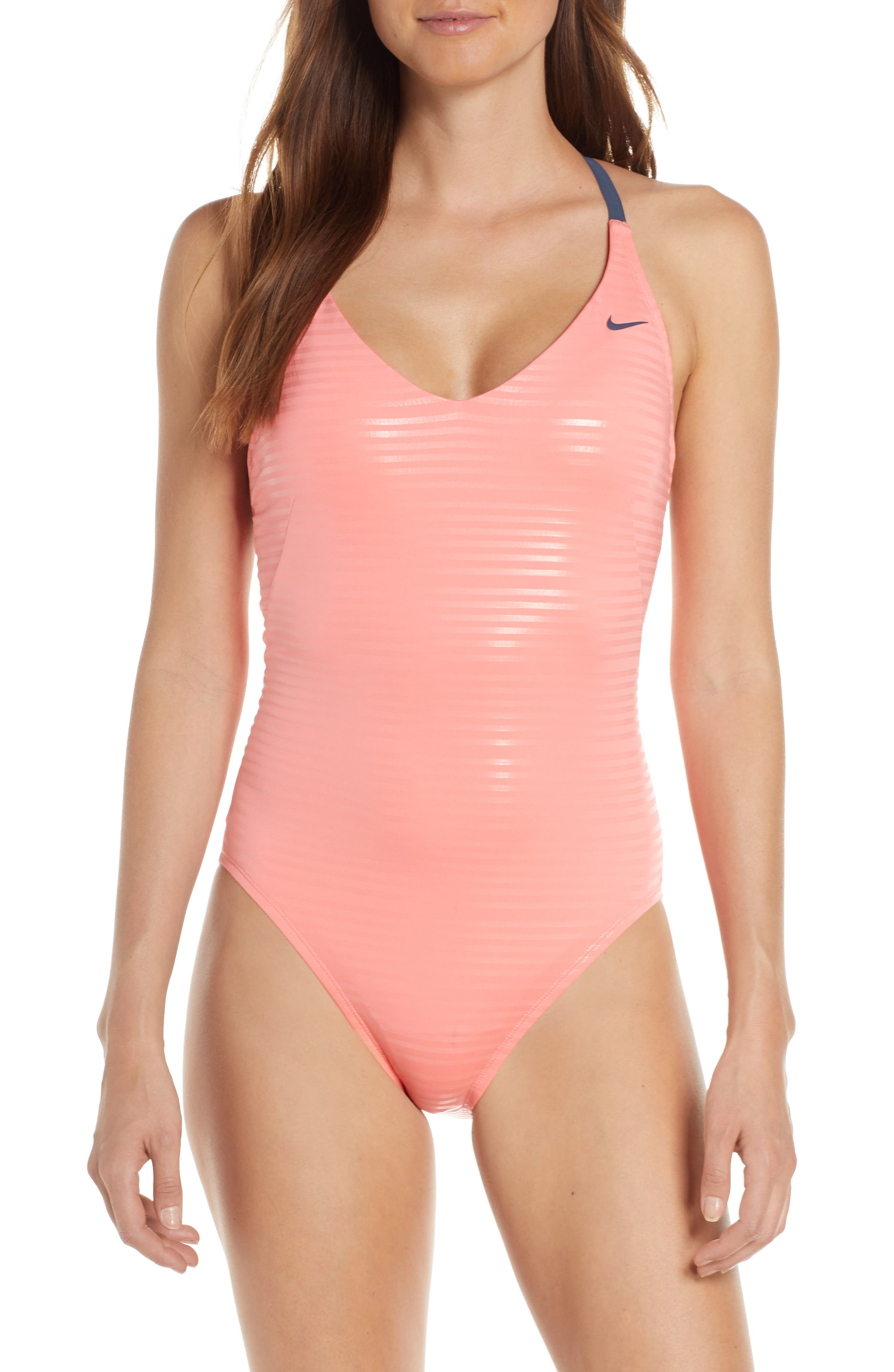 Nike Shine Stripe Crossback One-Piece Swimsuit, Pink