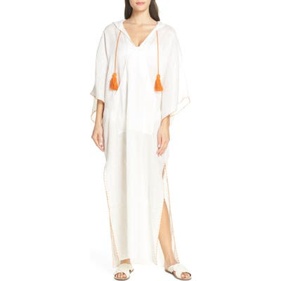 Tory Burch Hooded Cover-Up Caftan, White