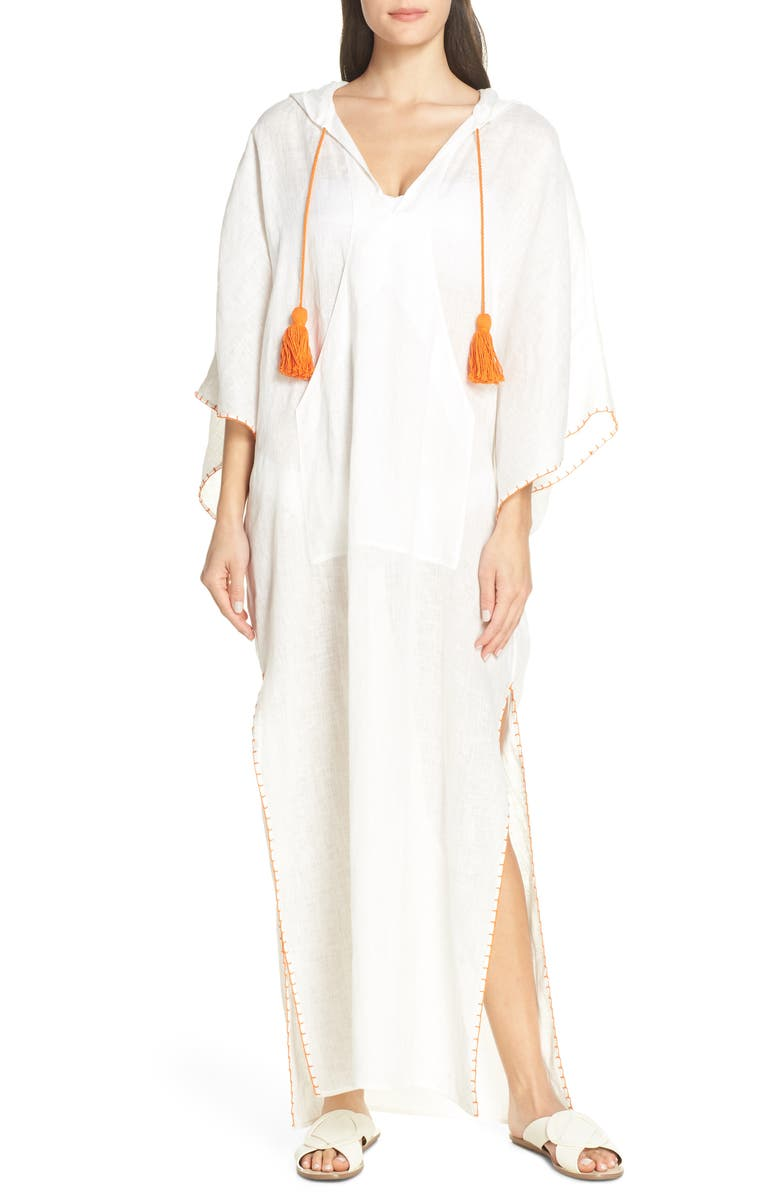 TORY BURCH Hooded Cover-Up Caftan, Main, color, 100