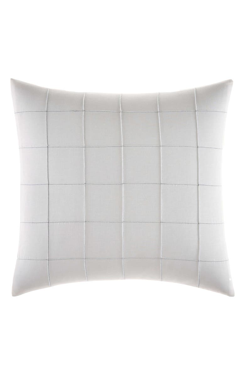 VERA WANG Shibori Grid Square Accent Pillow, Main, color, WHITE