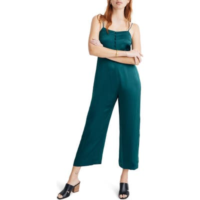 Madewell Strappy Satin Jumpsuit, Green