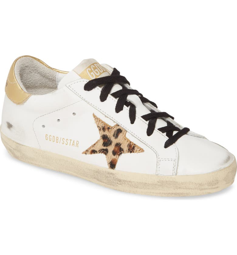 GOLDEN GOOSE Superstar Genuine Calf Hair Sneaker, Main, color, WHITE LEATHER/ LEOPARD