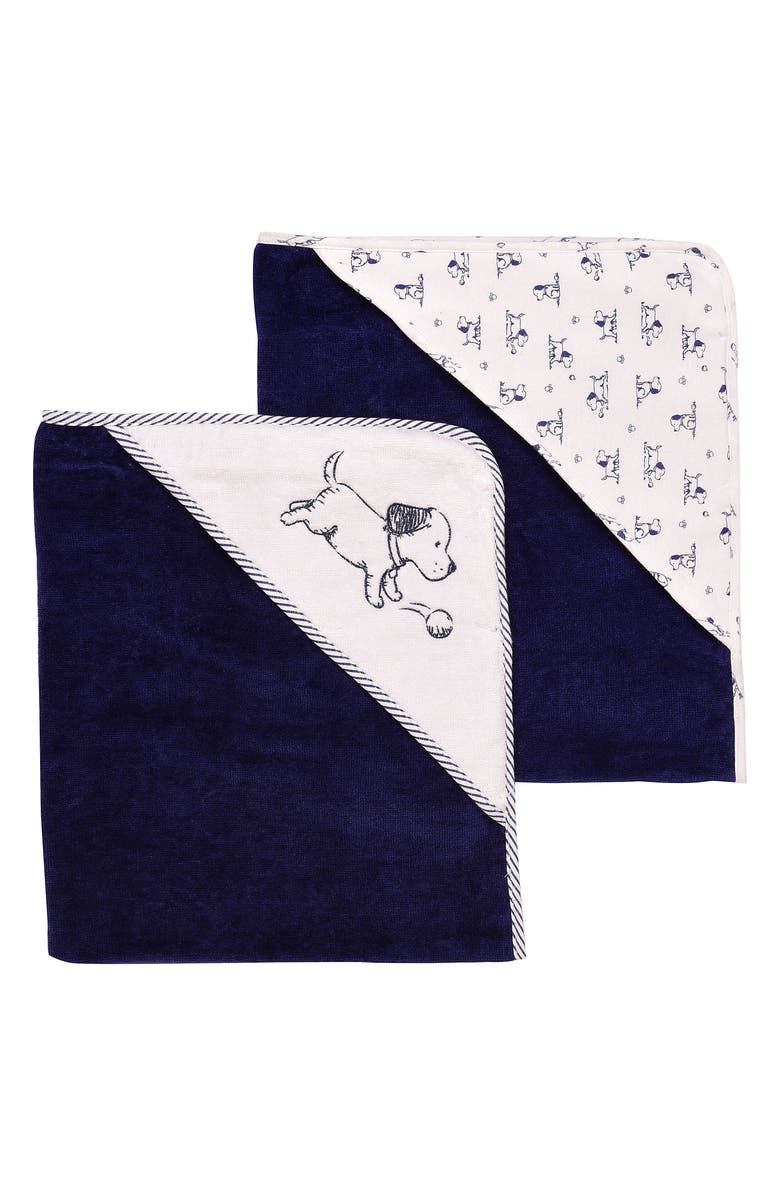 LITTLE ME Puppy 2-Pack Hooded Towels, Main, color, PUPPY
