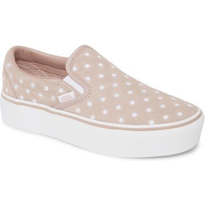 Vans Classic Slip-On Suede Platform Sneaker, Beige