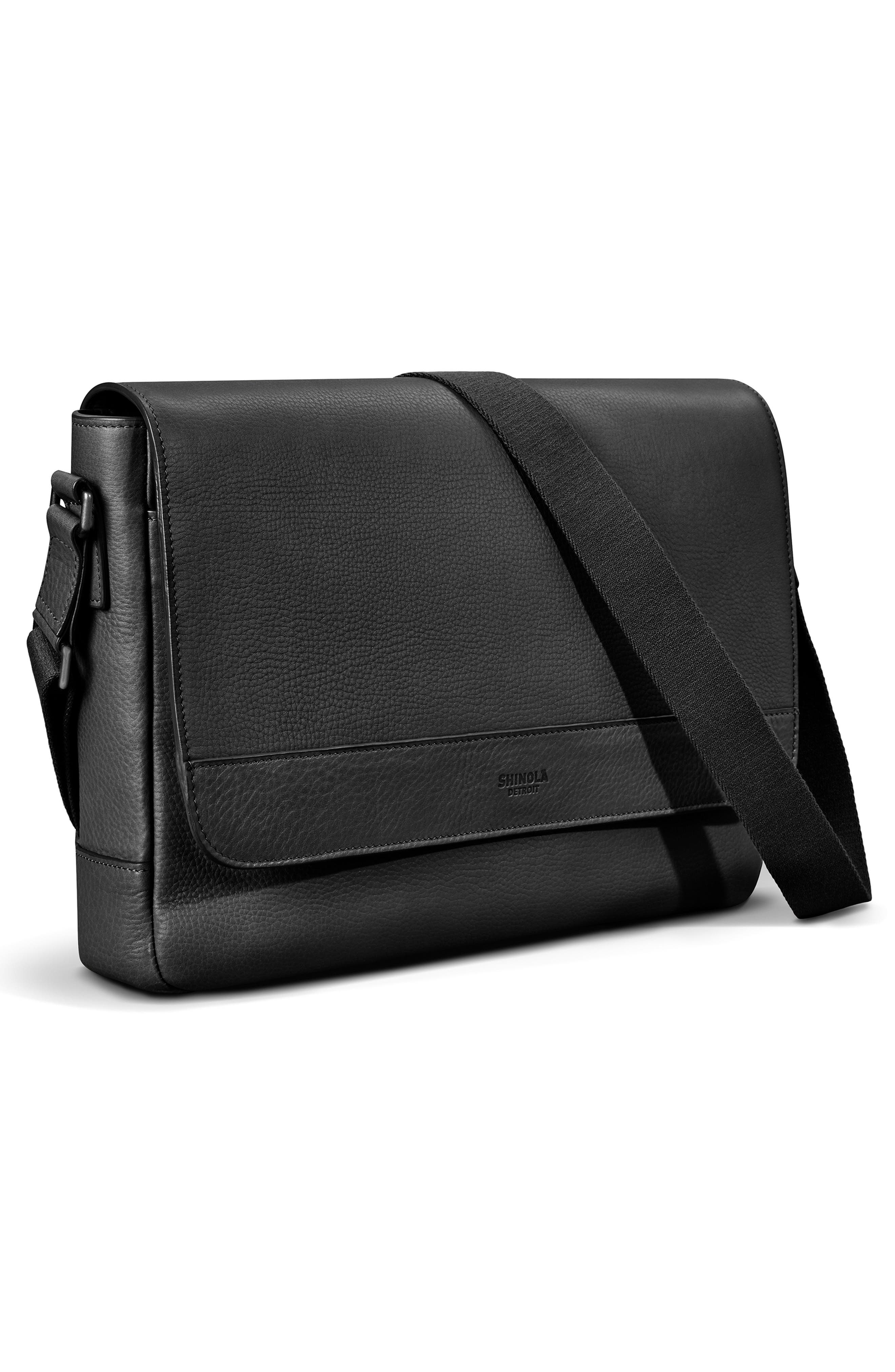 ,                             Slim Leather Messenger Bag,                             Alternate thumbnail 5, color,                             BLACK