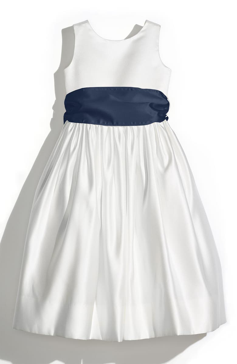 US ANGELS Sleeveless Satin Dress with Contrast Sash, Main, color, IVORY/ NAVY