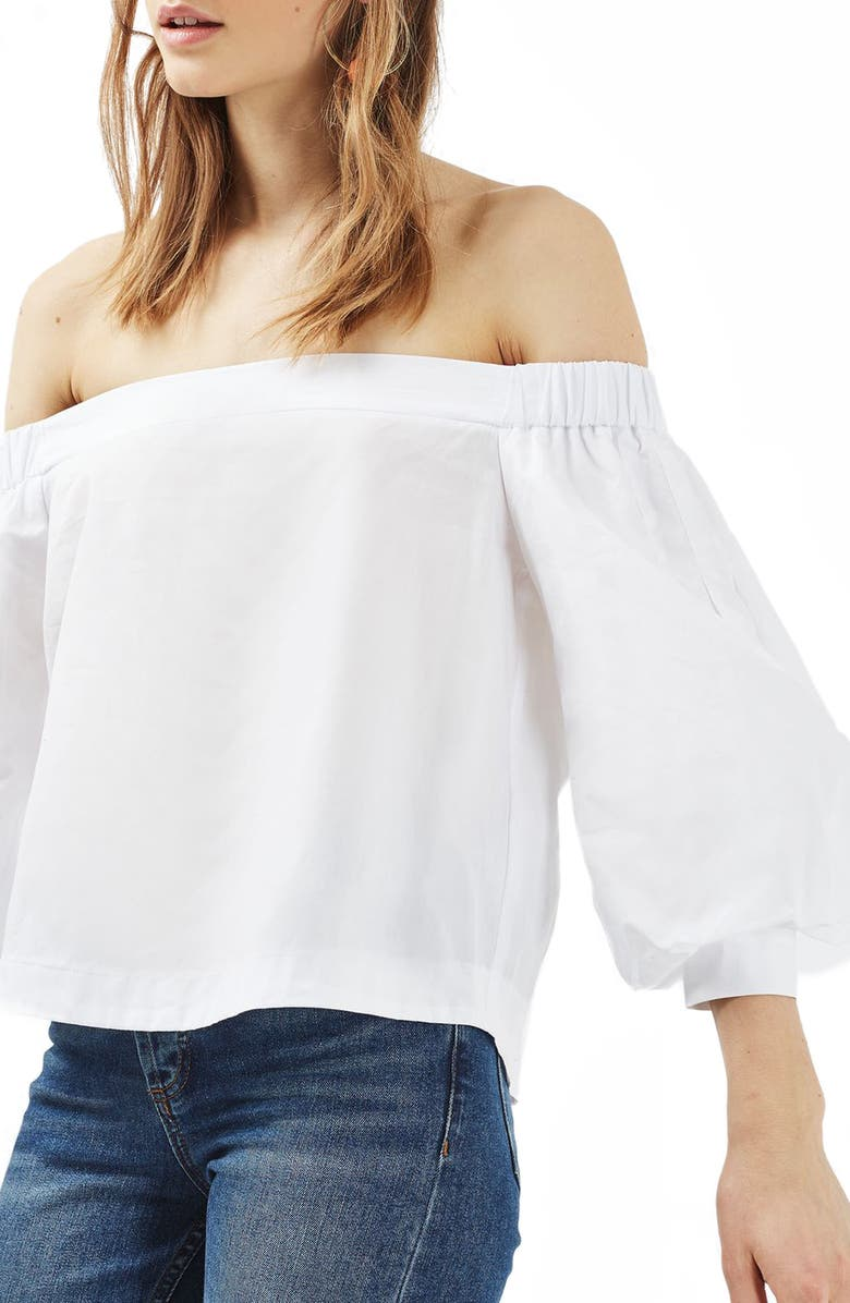 TOPSHOP Puff Sleeve Off the Shoulder Top, Main, color, 100