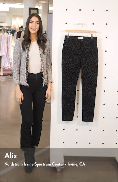 Mid-Rise Flocked Leopard Skinny Jeans, sales video thumbnail
