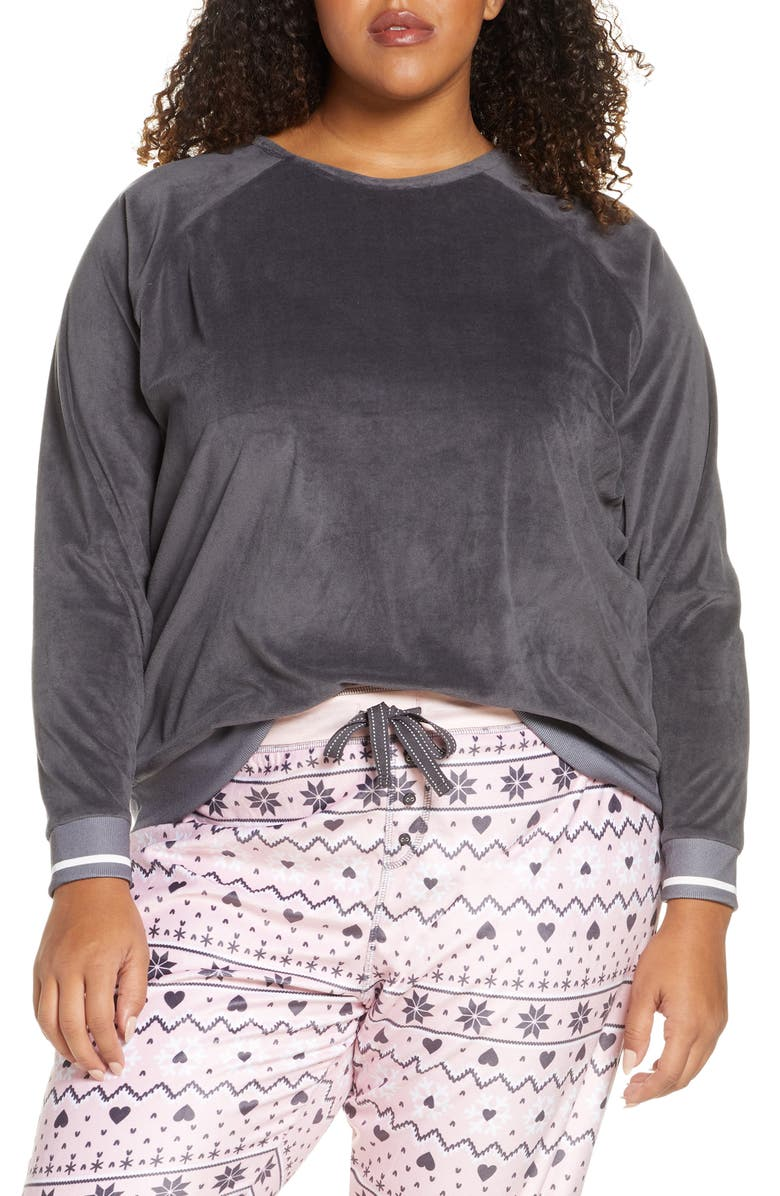 PJ SALVAGE Oh My Velour Top, Main, color, SLATE