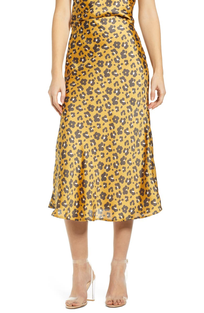 4SI3NNA Leopard Print Satin Midi Skirt, Main, color, 700