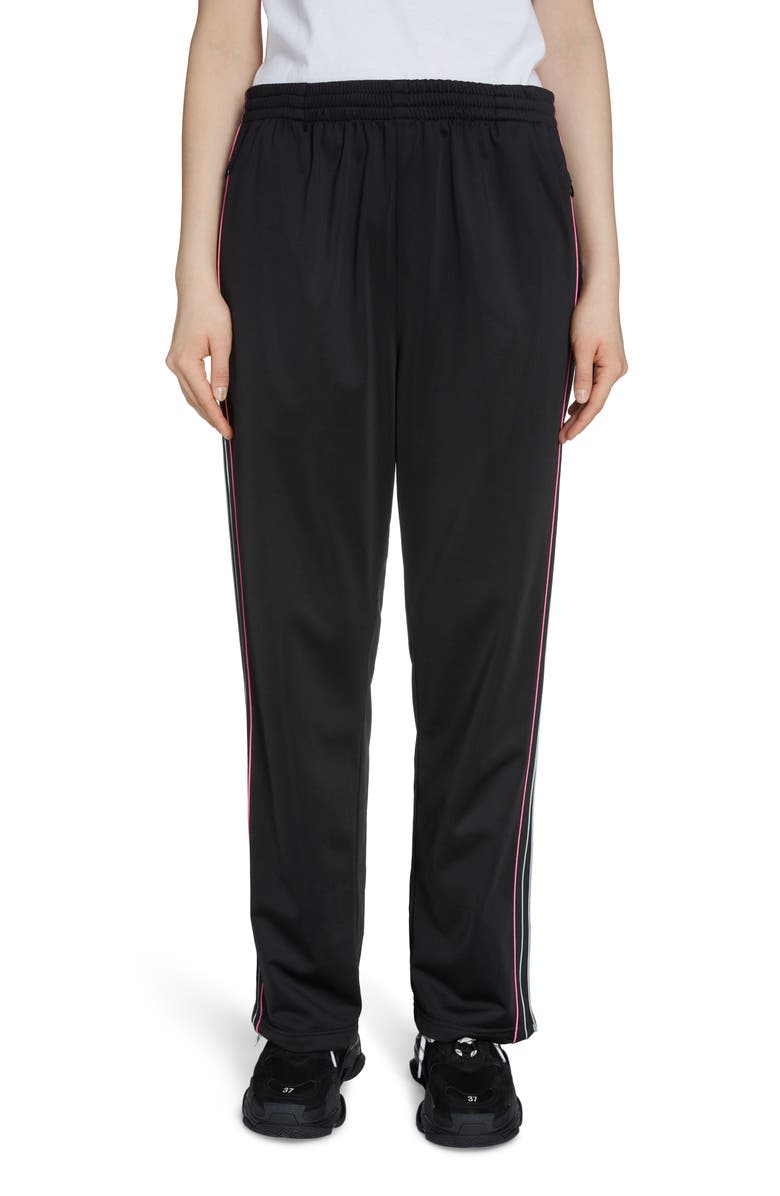 BALENCIAGA Stripe Track Pants, Main, color, BLACK