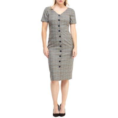 Maggy London Confetti Plaid Button Front Dress, Beige
