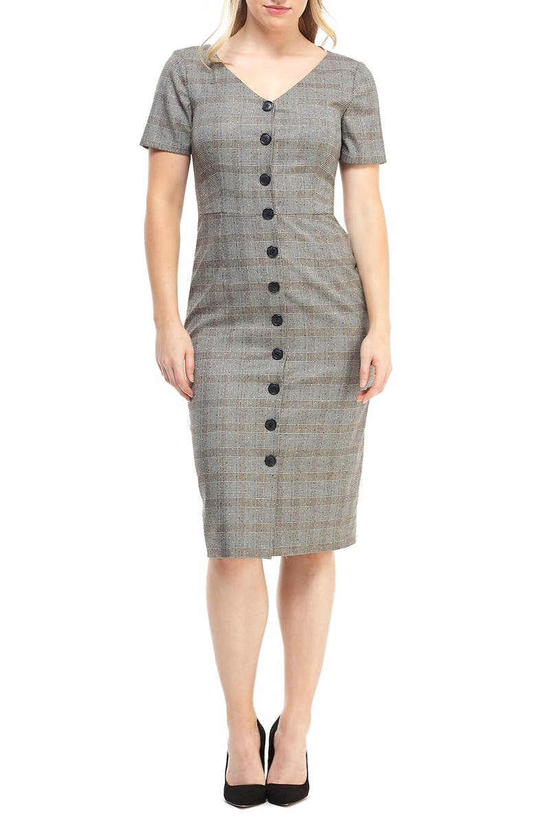 MAGGY LONDON Confetti Plaid Button Front Dress, Main, color, TAN/ MULTI