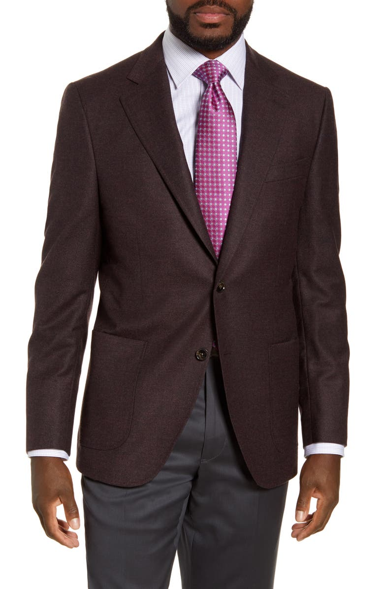 PETER MILLAR Hyperlight Classic Fit Solid Stretch Wool Sport Coat, Main, color, MAROON