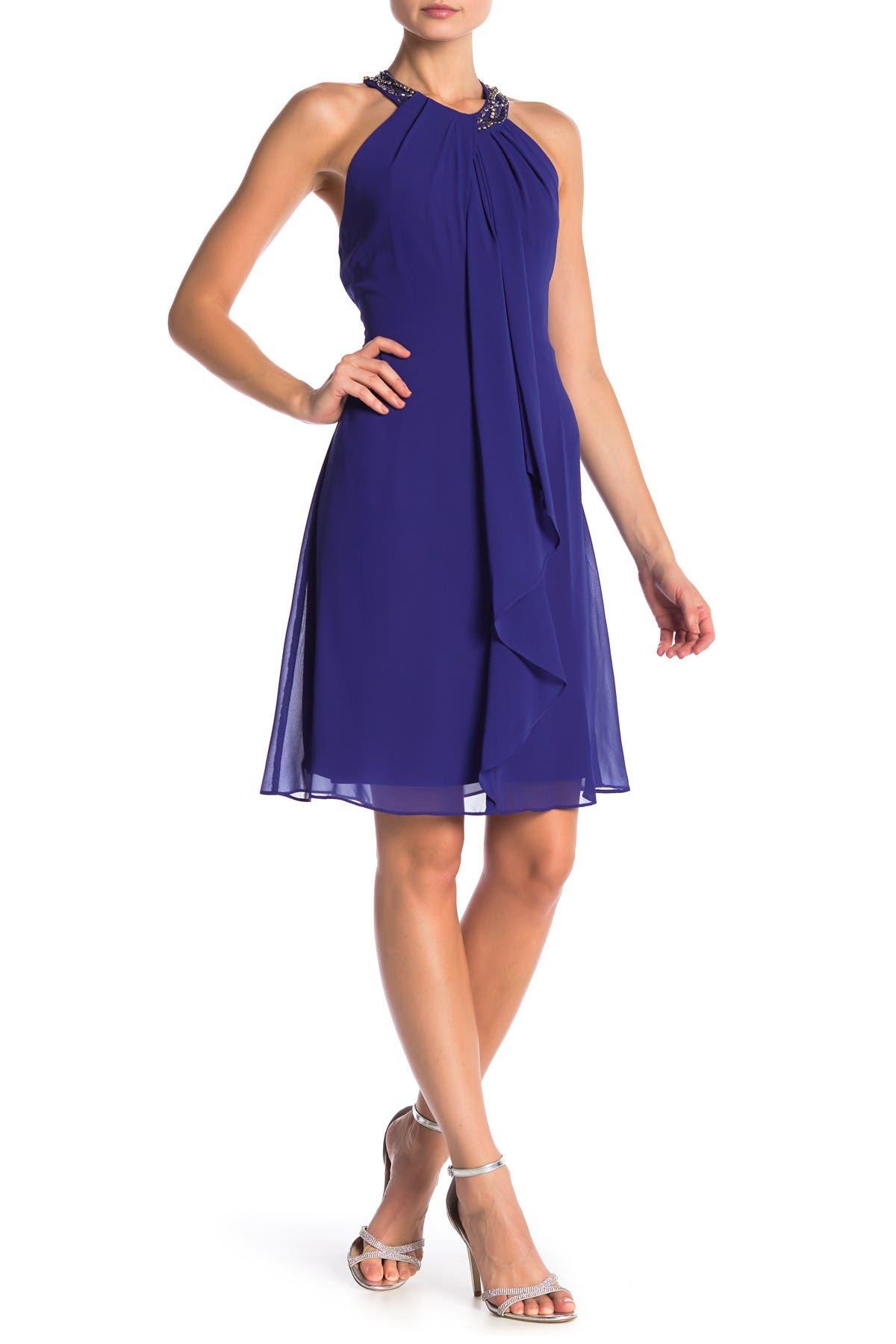 Image of SLNY Necklace Halter Dress